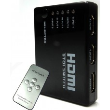 ADAPTADOR HUB SWITCH HDMI 5 PORTAS SPLITTER FULL HD COM CONTROLE REMOTO